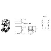 Реле «OMRON», MY2NJ, 12V + база, 2 группы переключающих контактов, 5A
