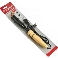 Паяльник электрический ЗУБР 55405-150_z01, МАСТЕР, для лужения с деревянной рукояткой и долговечным жалом, форма клин, 150 Вт