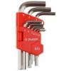 Набор ЗУБР Ключи МАСТЕР 27460-1_z02 имбусовые короткие, Cr-V, сатинированное покрытие, пластик. держатель, HEX 1,5-10мм, 9 пред