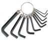 Набор DEXX 27403-H10. Ключи имбусовые, оксидированные, на кольце, HEX, 1,5-2-2,5-3-3,5-4-5-5,5-6-8, 10шт